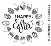 happy easter outline round... | Shutterstock . vector #684806881