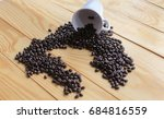 coffee beans placed on a white... | Shutterstock . vector #684816559