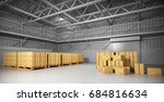 large trucking warehouse with... | Shutterstock . vector #684816634