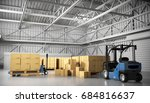large trucking warehouse with... | Shutterstock . vector #684816637