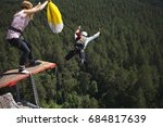 base jumper jumps from a great... | Shutterstock . vector #684817639