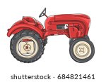 Red Tractor  Vintage Hand Draw...