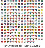 shield shaped illustrated flags ... | Shutterstock . vector #684822259