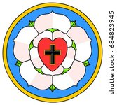 Stock vector lutheran rose emblem luther seal a widely recognized symbol for lutheranism this rose is being 684823945