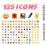 set of realistic cute icons on... | Shutterstock .eps vector #684826081