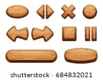 wooden buttons set for game ui. ...
