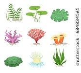 sea aquatic fauna underwater... | Shutterstock . vector #684834565