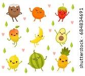 funny emotion on cartoon fruits ... | Shutterstock . vector #684834691