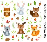 forest animals in cartoon style.... | Shutterstock . vector #684836485