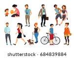 peoples walking on street.... | Shutterstock . vector #684839884
