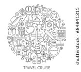 travel cruise thin line vector... | Shutterstock .eps vector #684841315