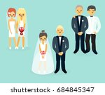 vector set of wedding cartoon... | Shutterstock .eps vector #684845347