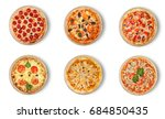 six different pizza set for... | Shutterstock . vector #684850435