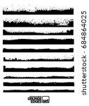 set of grunge vector ink edges  ... | Shutterstock .eps vector #684864025