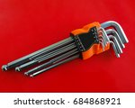 Small photo of Hex key Set on white background.A hex key, Allen key or Allen wrench is a tool used to drive bolts and screws with hexagonal sockets in their heads