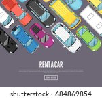 rent a car poster with modern... | Shutterstock .eps vector #684869854