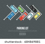 parking lot poster in flat... | Shutterstock .eps vector #684869881