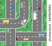 top view highway traffic in... | Shutterstock .eps vector #684869884