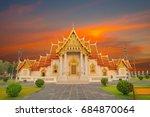 wat benchamabophit  bangkok ... | Shutterstock . vector #684870064