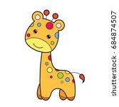cute giraffe clipart coloring... | Shutterstock .eps vector #684874507