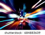 moving traffic light trails at... | Shutterstock . vector #684883639