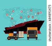 logistics and transportation of ... | Shutterstock .eps vector #684891475