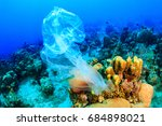 plastic pollution   a discarded ... | Shutterstock . vector #684898021