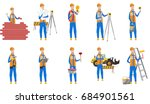 young caucasian builder set.... | Shutterstock .eps vector #684901561