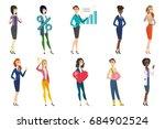 business woman  stewardess ... | Shutterstock .eps vector #684902524