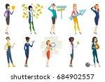 business woman  stewardess ... | Shutterstock .eps vector #684902557