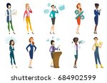 business woman  stewardess ... | Shutterstock .eps vector #684902599