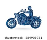 a man riding motorbike designed ... | Shutterstock .eps vector #684909781