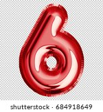 brilliant balloon font number 6 ... | Shutterstock . vector #684918649