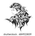 vector sketch. beauty girl face ... | Shutterstock .eps vector #684923839