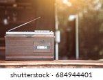 retro radio cassette stereo on... | Shutterstock . vector #684944401