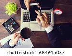 business man is pointing to... | Shutterstock . vector #684945037