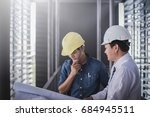 architect and engineer inspect... | Shutterstock . vector #684945511