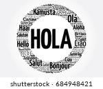 hola  hello greeting in spanish ... | Shutterstock .eps vector #684948421