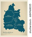 modern map   oxfordshire county ... | Shutterstock .eps vector #684968035