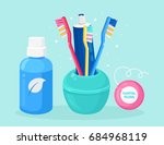 toothbrush with tube of... | Shutterstock .eps vector #684968119
