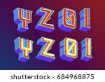 3d vintage letters with... | Shutterstock .eps vector #684968875
