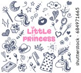 little princess attributes set. | Shutterstock .eps vector #684971665