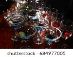 glasses of cocktail on bar... | Shutterstock . vector #684977005