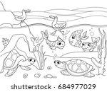 wetland landscape with animals... | Shutterstock . vector #684977029