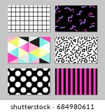cute set of 80s and 90s style... | Shutterstock .eps vector #684980611