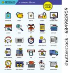 modern retro thin line icons... | Shutterstock .eps vector #684983959