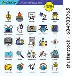 modern retro thin line icons... | Shutterstock .eps vector #684983965