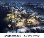 aerial view shipping dock have... | Shutterstock . vector #684984949
