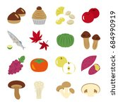 japanese autumn food vector... | Shutterstock .eps vector #684990919