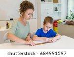 teacher woman learn to use... | Shutterstock . vector #684991597